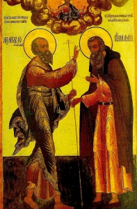 Icoana Sf Ioan Teologul cu Sf Avramie de Rostov